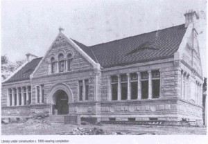 Image of library during construction, circa 1895